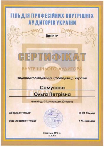 Сертификат ГПВАУ внутреннего аудитора Самусева О.П.